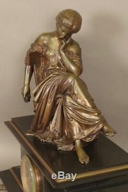 Pendule Napoléon III signée Moreau bronze marbre