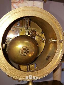 Pendule Portique Napoléon III Bronze et Marbre avec cassolette
