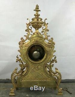 Pendule XIX Ème En Bronze Doré Napoléon III Style Louis XV Rocaille