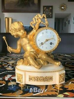 Pendule XIXème en bronze doré Amour au tambour vers 1880