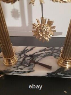 Pendule à colonnes de style Louis XVI marbre & bronze Napoléon III