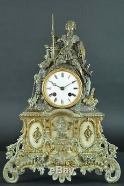 Pendule ancienne Bronze Chevalier Médiéval Bayard Napoleon 3 antique clock 19thc