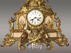 Pendule au guerrier bronze et albâtre Napoléon III