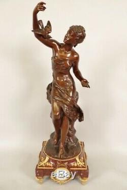 Pendule bronze Napoléon III signée Mathurin Moreau Colombe