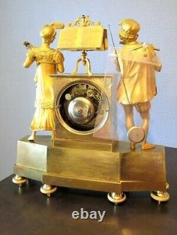 Pendule bronze empire Napoléon III cartel