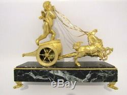 Pendule en bronze, Empire, clock Napoléon III PENDULE AU CHAR DE L'AMOUR