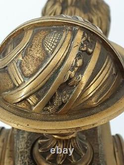 Pendule en bronze doré au globe terrestre Napoléon III