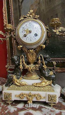 Pendule garniture bronze doré 19e st L XVI napoleon III mantel clock putti anges