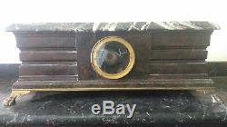 Pendule/horloge XIXÈME Barbedienne. Marbre et bronze aux lions