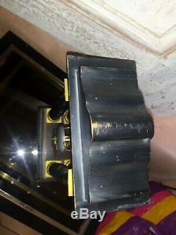 Pendule portique Napoléon III Japy en bronze doré bois marqueterie Charles X
