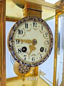 Pendule portique à colonnes cage bronze doré émail cloisonné Mougin Napoléon III