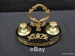 Petit Encrier de bureau en marqueterie Boulle Bronze et Noir ép Napoléon III