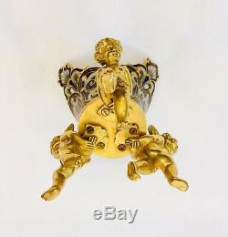 Petit cache pot putti en bronze doré cloisonné Napoléon III dlg Alphonse Giroux