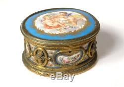 Petit coffret bijoux boîte bronze doré porcelaine angelots Napoléon III 19è