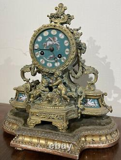 Petite Pendule En Bronze Et Porcelaine Napoleon 3