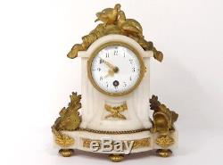 Petite pendule bronze marbre blanc oiseaux casque Napoléon III clock XIXème