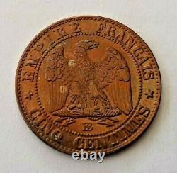 Pièce de monnaie 5 centimes Napoléon III Tête Nue 1857 BB