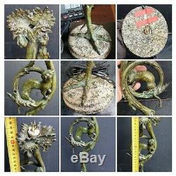 Pied De Lampe En Bronze Patine Vert Decor De 3 Tetes De Coqs Et Belette 19eme