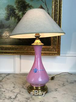 Pied De Lampe Epoque Napoleon III En Porcelaine Rose Monté Sur Bronze Doré