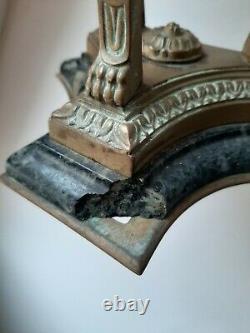 Pied Lampe à pétrole Athénienne Empire bronze personnages XIXè siècle sphinges