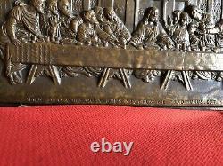 Plaque Bas Relief En Bronze La Cène Xixeme Sculpture Objet Tableau Religieux