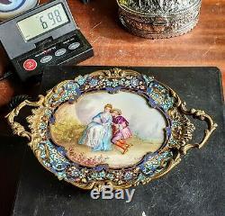 Plateau Coupe Bronze Cloisonne Champleve + Porcelaine Sevres Tray 19e Porcelain