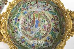 Porcelaine de Canton Chine 19eme Bronze Doré Napoléon III Coupes et Vases