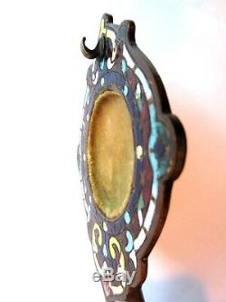 Porte-montre féminin en bronze cloisonné, socle marbre rouge, Napoléon III