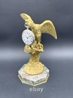 Porte-montre gousset bronze aigle XIXe Antique pocket watch holder stand Eagle