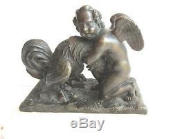 Presse-papier Napoléon III, sculpture bronze, marbre blanc Angelot avec un coq