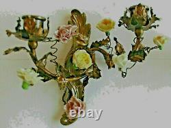 RARE Ancienne Paire d'appliques laiton et fleurs porcelaine