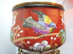RARE Cache-pot Napoléon III, faïence sur 3 pieds bronze, décor Oiseau et Fleurs