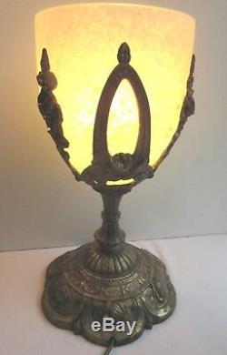 RARE lampe de table Art Nouveau Bronze aux roses + grosse tulipe Schneider