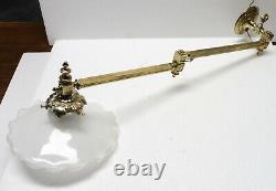 Rare APPLIQUE ancienne bronze XIXè abat jour opaline extensible (2)