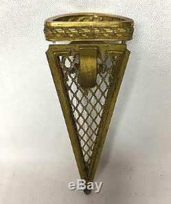 Rare Bouquetiere Ancienne De Voiture En Cristal Ornée De Bronze De 22 CM De H