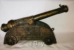 Rare Canon Portugais Guia Hill Fortress de Makao en bronze. Sur 4 roues 35 cm