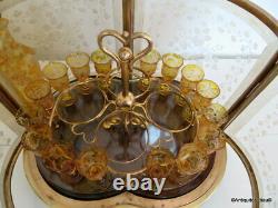 Rare Cristal de Bohême Cave à liqueur en Bronze Boulle d'époque Napoléon III