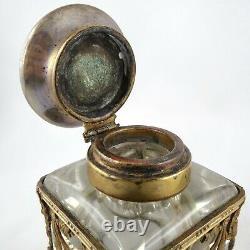 Rare ENCRIER Ancien Cristal Bronze EMPIRE NAPOLEON III French Inkwell Écritoire