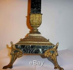 Rare Immense Pied De Lampe A Petrole Bronze Marbre Noir Carre Napoleon III