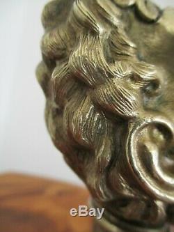 Rare Lampe Huile sculpture Bronze tête de satyre XIXe Napoléon III