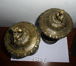Rare Paire De Cassolettes Bronze Napoleon III Faunes Satyres Femmes Bacchanales