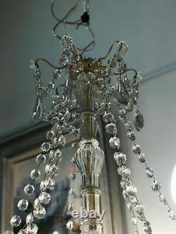 SUPERBE Lustre Bronze 9 LumiÈres Pampilles Cristal Napoleon III / LUSTRE ANCIEN