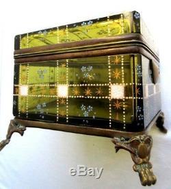 SUPERBE boite à bijoux en cristal biseauté émaillé, pieds bronze, Napoléon III