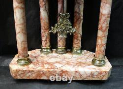 SUPERBE pendule 5 colonnes style Louis XVI marbre, balancier bronze, fonctionnelle