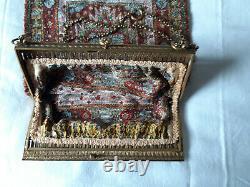 Sac de Bal, Aumônière ancienne en Bronze et Broderie de Perles, Napoléon III