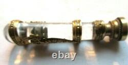 Sceau à cacheter cristal, bronze doré aux angelots, monogramme AS, Napoléon III