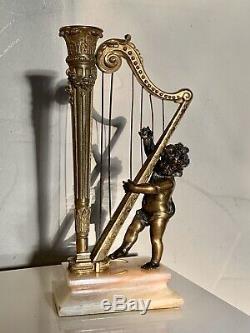 Sculpture Bronze Doré Ange A La Harpe Epoque Napoléon 3