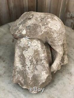 Sculpture Haute Époque Archéologie Romain Roman Gothique Pierre Ancien Agneau