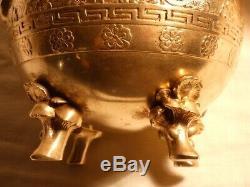 Sculpture en bronze cache pot à décor asiatique signé Alphonse Giroux Paris XIXe