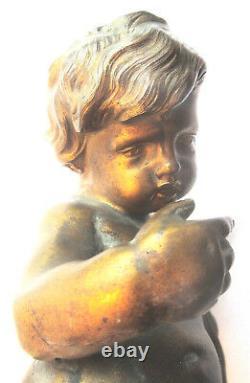 Sculpture statue de pendule en bronze, Napoléon III Angelot chérubin allongé